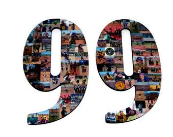 """Number 99 99th Birthday 99th Anniversary Number Photo Collage 18"""" Senior Night Jersey Number Graduation centerpiece Surprise Party Decor"""
