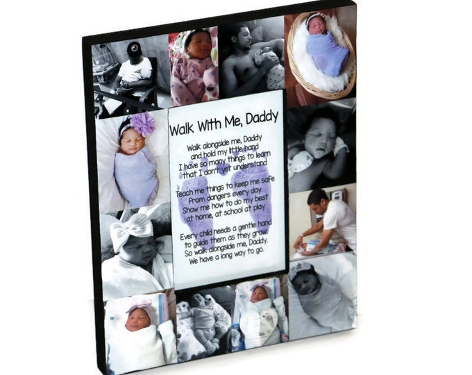 Featured listing image: Father's Day Frame Daddy Walk with me First Fathers Day Photo Frame Picture Gift Collage Personalized center Baby Footprints