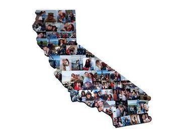 State of California Wooden Custom State Collage Gift College Moving Missing Home California Ohio Pennsylvania Florida Indiana Texas Virginia