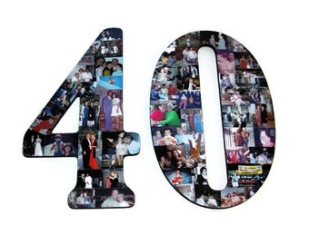 """40th Wedding Anniversary Party 50th 75th Engagement 18"""" Photo Letter Custom Picture Monogram Collage Personalize Birthday Party Decor"""