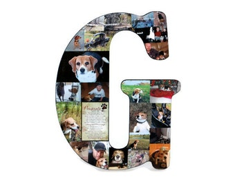 "18"" Photo Collage Letter Loss of Pet Animal Memorial Pet Memorial Collage In Loving Memory Best Friend Gift, Alphabet Collage unique present"
