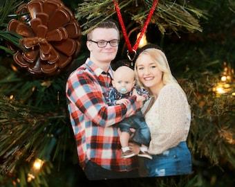 Photo Ornament, Photo Wood Statuette Ornament, Photo Ornament Christmas, FAMILY ornament, Photo Ornament Personalized, Photo Ornament 2020,
