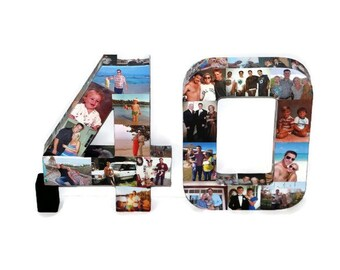 40th 45th Wedding Anniversary Birthday Collage 20th 30th 40th 60th 25th 12 in Photo Frame Custom Picture Class Reunion Graduation 2015 3D
