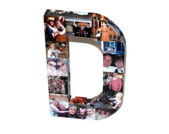 """16"""" Photo Collage letter Girlfriend Gift, College Dorm Room, Sorority Big Little Wedding Birthday Picture Letter Initial 3D Frame"""