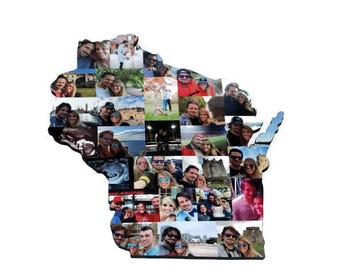 State of Wisconsin WI Wooden Custom State Collage with photos Gift College Moving Missing Home Alabama, Arizona, Georgia, Indiana, Kentucky