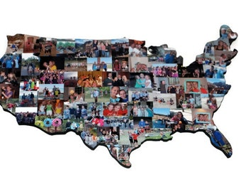 Wooden Custom United States USA Photo Collage Gift Moving Missing Home Citizenship America Flag off to College studying abroad Country