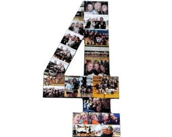 Number 4 Photo Number Collage Picture frame College Sport 4th Wedding Anniversary 4th Birthday Senior night year 2017 Jersey Number 4