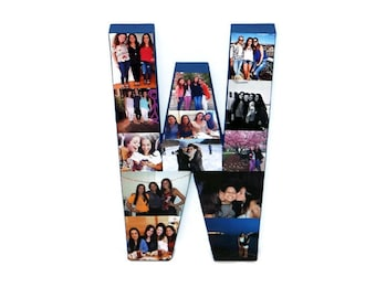 """3D 16"""" Huge Photo Initial collage Gift Picture Frame Children's, College Dorm Room Wedding Birthday  Personalized Monogram Letter Collage"""