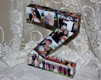 "Custom Photo Letter Wedding Birthday Picture Custom Personalized Monogram 12"" 3D Letter Photo Collage all sides of any letter or number Z"