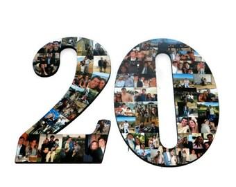 "20th Birthday 20th Anniversary Number Photo Collage 18"" Senior Night Jersey Number Graduation centerpiece Party Decor Twenty Years 20 yrs"