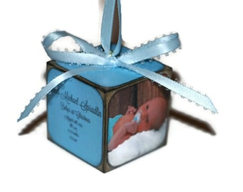 Baby's First Christmas Ornament | Personalized photo keepsake | Square wooden block | Baby's 1st Christmas | Our first Christmas
