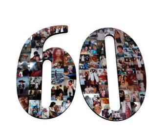 """Number 60 60th Birthday 60th Anniversary Number Photo Collage 18"""" Senior Night Jersey Number Graduation centerpiece Surprise Party Decor"""