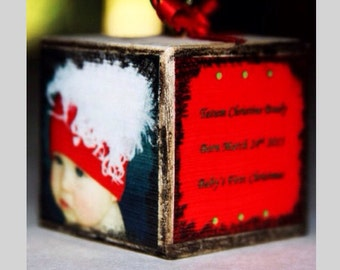 Ornament Custom photo square wooden block Christmas keepsake baby's first christmas, our first christmas our first home