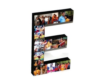 Wedding Gift for Couple Last Name Gift Letter E Initial with Pictures Collage
