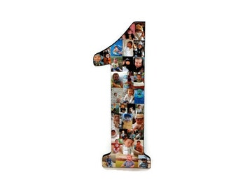 """Baby's First Birthday Number 1 One with Photos Number Collage  One Year Wedding Anniversary 18"""" Huge Wooden Number Jersey Number Baby 1st"""