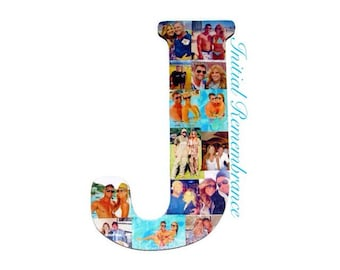 "18"" Wooden Letter Photo Collage or Number Collage Anniversary Engagement Birthday Bridal Shower Best friend Gift Senior Night Graduation"