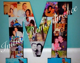 Photo Letter Collage Wedding Birthday Wooden Picture Custom Personalized Monogram 13'  Letter Photo Collage Pet in Loving Memory Sympathy