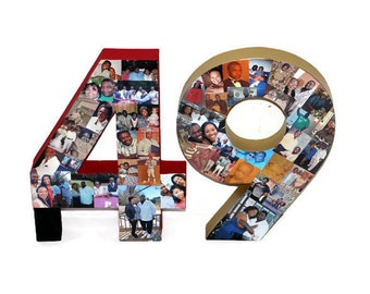 Number 49 3D Jersey Number Photo Collage Two Digit Birthday Anniversary Party Senior Night  Graduation Football, Soccer, Baseball Basketball