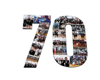Number 70 Photo Number Collage Picture frame College Sport 70th Wedding Anniversary 70th Birthday Senior night year 2017 Jersey Number 70