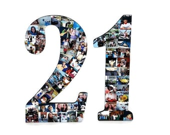 21 Number 21st Photo Number Collage Picture frame College Sport Wedding Anniversary 21st Birthday Senior night year 2017 Jersey