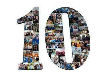 "10 10th Senior Night Number Photo Collage Huge 18"" Two Digit Letter Collage Birthday Anniversary Party Jersey Number Graduation Fraternity"