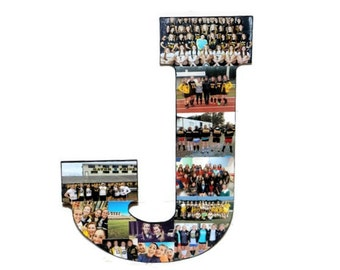 Senior Night Coaches Gift Custom Photo Collage Initial Letter Monogram Unique Picture Frame Wedding, Graduation, Birthday, Jersey Number