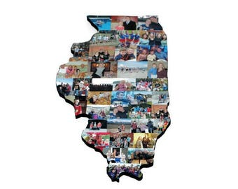 Illinois State Wooden Custom State Collage Gift College Moving Missing Home New Jersey Ohio Pennsylvania Michigan Florida Illinois Indiana