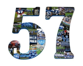 "18"" Double Digit Jersey Number Photo Collage Huge Birthday Anniversary Party Senior Night  Football, Soccer, Baseball, Basketball"