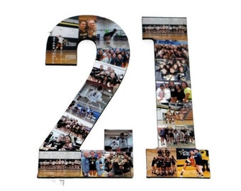 Number 21 Photo Number Collage Picture frame College Sport Wedding Anniversary 21st Birthday Senior night year 2017 Jersey Number 21