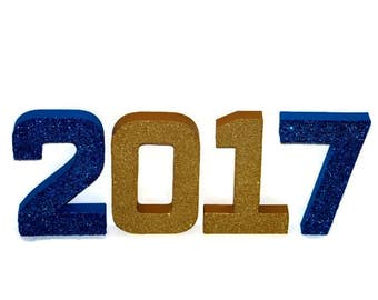 "2017 Glitter Numbers School Spirit Prop Graduation Grad Parties Prom Seniors colors Senior Year Senior Night Junior Sophomore Freshman 8"""