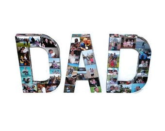 """Custom Photo Letter the word DAD 12"""" Paper Mache Father's Day Mother's Day Birthday Decor  in time for Father's Day Custom Picture Photo Art"""