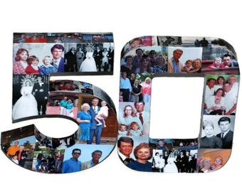 50th Wedding Anniversary Birthday Collage Photo Number Picture Letter Class Reunion Birthday Jersey Graduation 2015 3D 15 15th