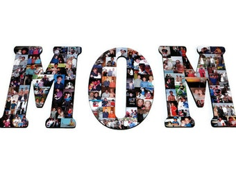 MOM Collage, Mother's Day, Photo Gift, Unique gift for Mom, Mom Gift, initial with photo, Siblings Gift to Mom, Gift From all of us