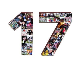 """2017 """"17 with photos 8"""", 12"""" or 16"""" Number 17 Seventeen 17th Birthday Jersey Number Graduation 2017"""