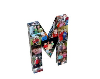 Photo Collage letter Girlfriend Gift, College Dorm Room, Sorority Big Little Wedding Birthday Picture Letter Initial 3D Frame 16""