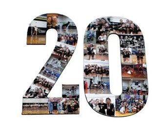 Number 20 Photo Number Collage Picture frame College Sport 20th Wedding Anniversary 20th Birthday Senior night year 2017 Jersey Number 20