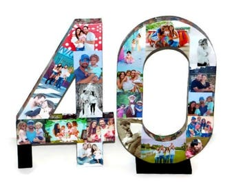 40th Birthday NUMBER 40 40th Anniversary Forty Photo Collage Number Picture Collage