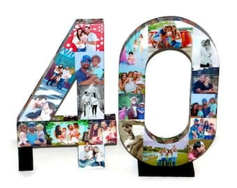 NUMBER 40 40th Birthday 40th Anniversary Forty Photo Collage Number Picture Collage party decoration Graduation 2019 pep rally '19 Senior