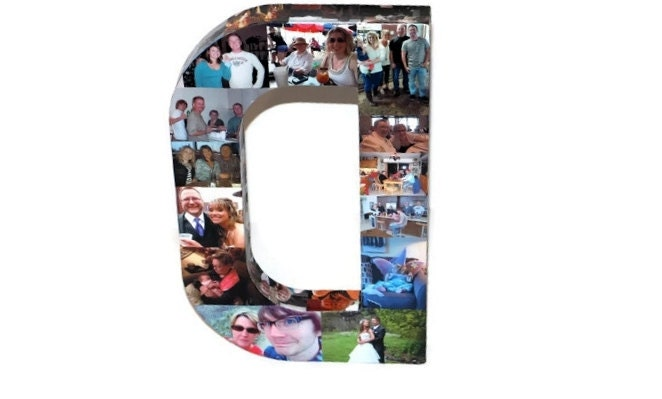 16 photo collage letter girlfriend gift college dorm room sorority big little wedding birthday picture letter initial 3d frame