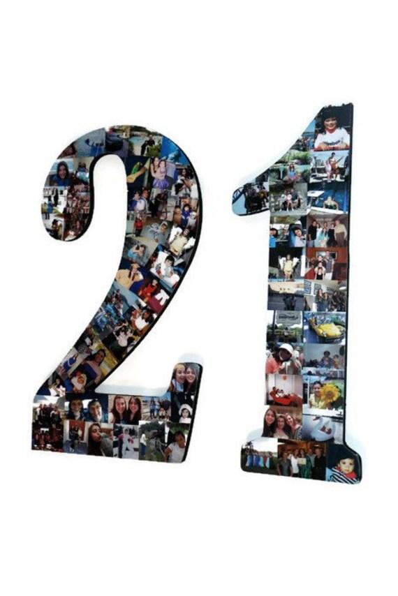 21 Nummer 21 Foto Nummer Collage Bilderrahmen College Sport | Etsy