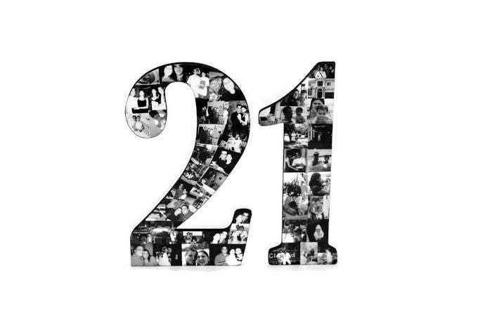 21st Birthday Photo Number Collage Number 21 Picture Frame College