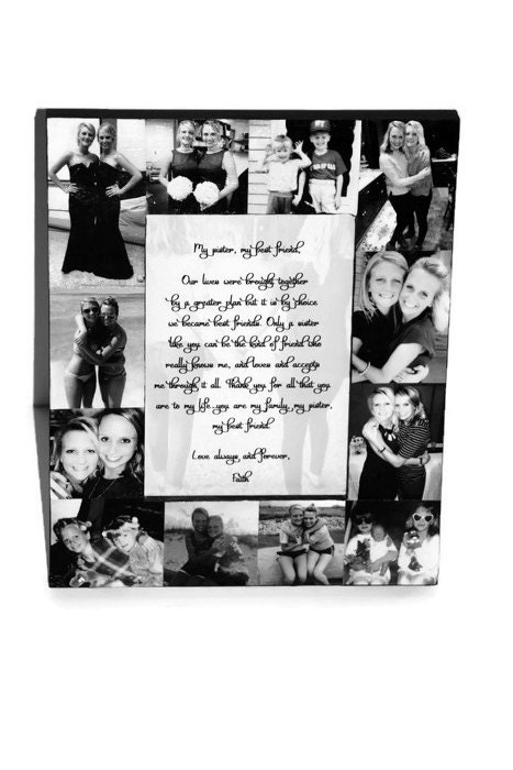 Personalized Picture Frame Collage Photo Gift Sister Bridesmaid Maid ...