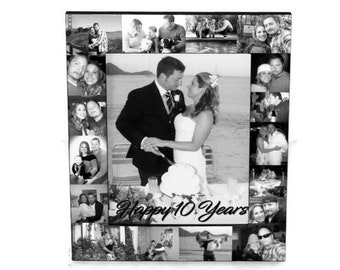 10 year 10 yr Anniversary Frame, Anniversary Frame,  Picture Frame Collage, 10th Anniversary, Gift for Him, Gift for her, Ten yr Custom Gift