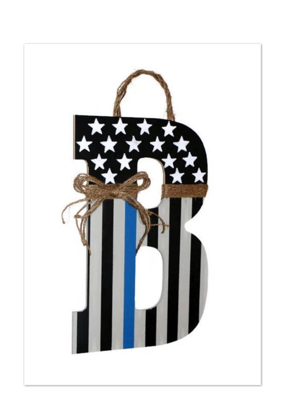 Line Peace Wreath Initial Decoration Officer Monogram American Police Letter Thin Patriotic Hanger Door Flag Blue rdoeBxC