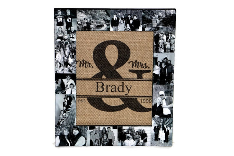 Ampersand Burlap Family established Last name date Photo frame Collage Personalized Picture  Wedding Gift Monogram Initial Rustic Husband