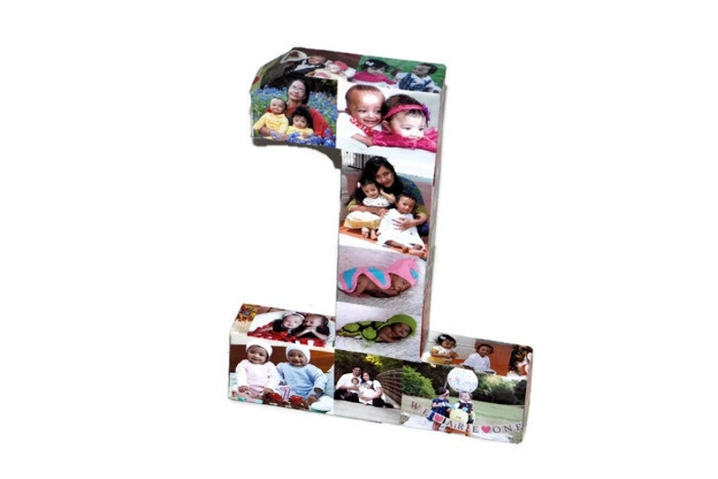 Baby/'s First Birthday Number 1 One 1st Wedding Anniversary Paper Gift 12 Photo Letter Number Picture Collage 360/' 3D Rare photo frame