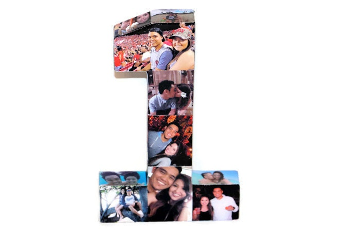 babys first birthday number 1 one 1st wedding anniversary paper gift 12 photo letter number picture collage 360 3d rare photo frame