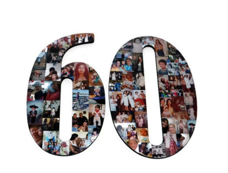 Number 60 60th Birthday 60th Anniversary Number Photo Collage image 0