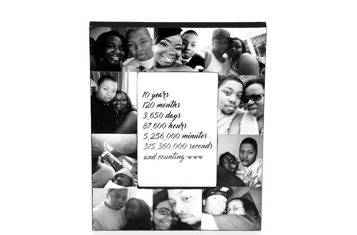 10 Year Anniversary Picture Frame Collage 10th Anniversary Gift For