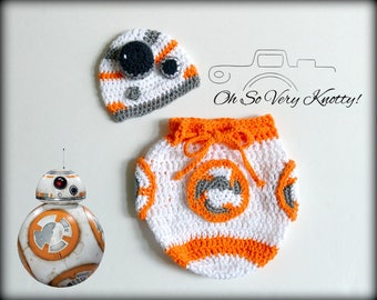 1c217695f81 Star Wars BB-8 Droid Sphero inspired Handmade Crochet Newborn Baby  Outfit Photo Prop Hat and Swaddle Sack Costume